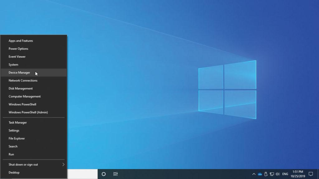 Picture of the Windows 10 Quick Access Menu