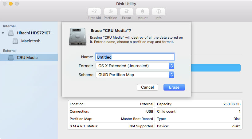 Image of Disk Utility showing the