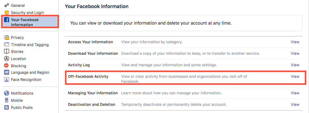 Facebook Data Privacy Settings - Off Facebook Activity