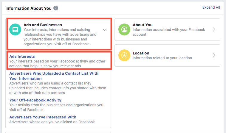 Off-Facebook Activity - Ad Interests