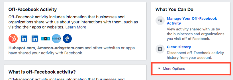 Off-Facebook Activity - More Settings