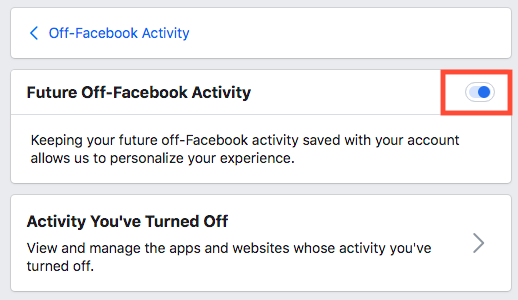 Off-Facebook Activity - Toggle